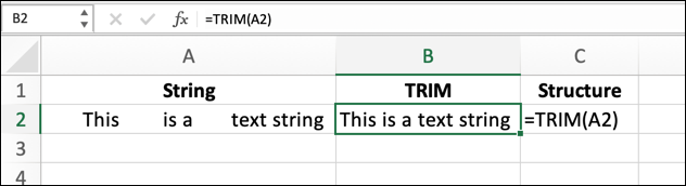 To use the TRIM function in Excel using a cell reference, use the formula =TRIM(A2), replacing A2 with your own cell reference.