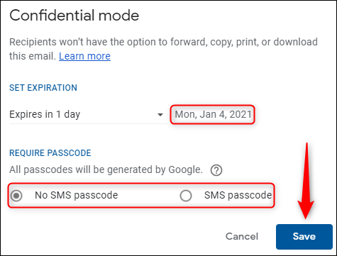 Expiration date and passcode