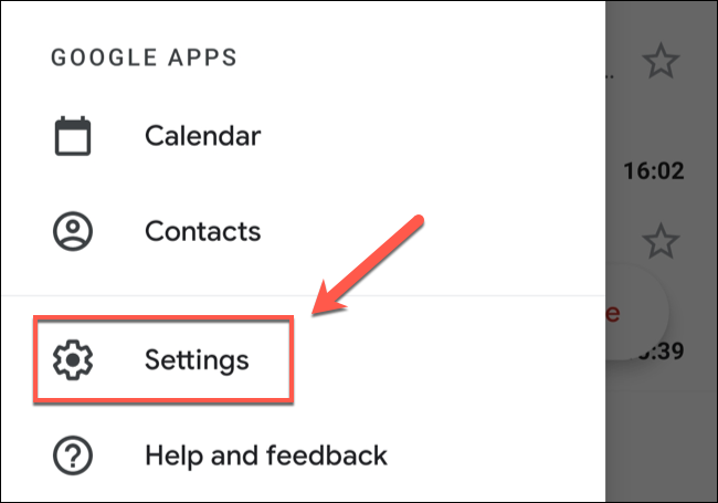 """In the Gmail app menu, tap the """"Settings"""" option."""