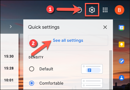 In the Gmail web interface, click the settings gear icon > See all settings option.