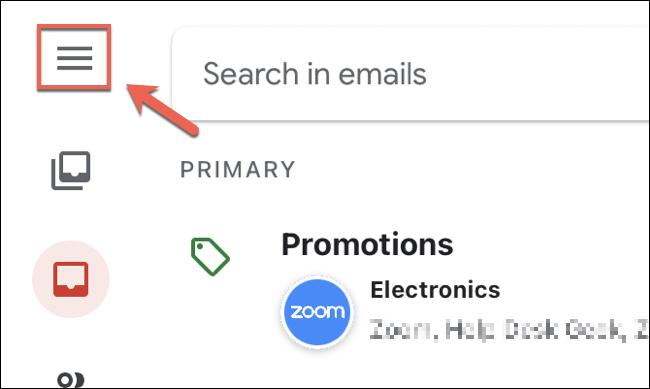 Az iPhone és iPad eszközökön található Gmail alkalmazásban érintse meg a bal felső sarokban található hamburger menü ikont.