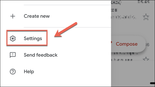 """Tap """"Settings"""" in the Gmail menu panel on iPhone or iPad to access the settings menu."""