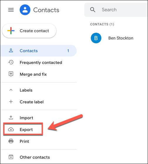 In the Google Contacts menu, press