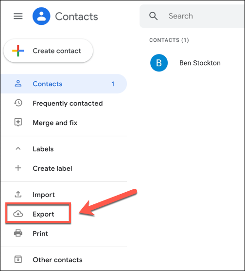 "In the Google Contacts menu, press the ""Export"" option on the left."