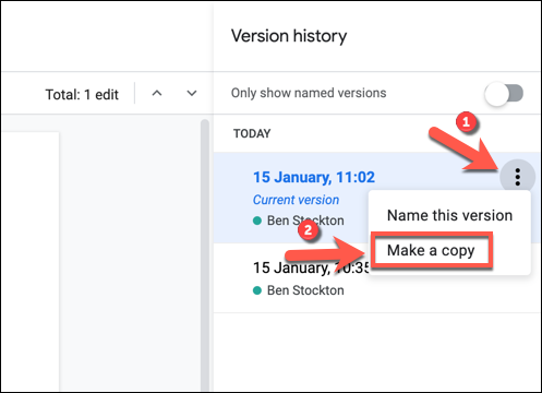 """To make a copy of a version of a Google Docs document, press the three-dots menu icon next to an entry in the """"Version History"""" menu, then press """"Make a Copy"""" to duplicate that version."""