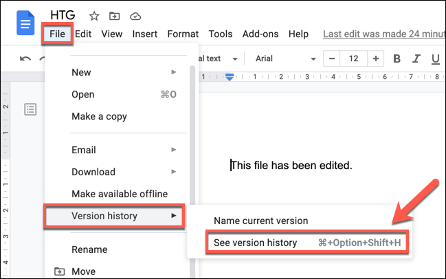 """Press File > Version History > See Version History to view the version history of a Google Docs document."""" width=""""649″ height=""""406″></p> <p>Alternatively, select the """"Last Edit"""" link, which is visible next to the """"Help"""" option. This will only be visible for users with """"Editor"""" access to a document.</p> <p><img loading="""