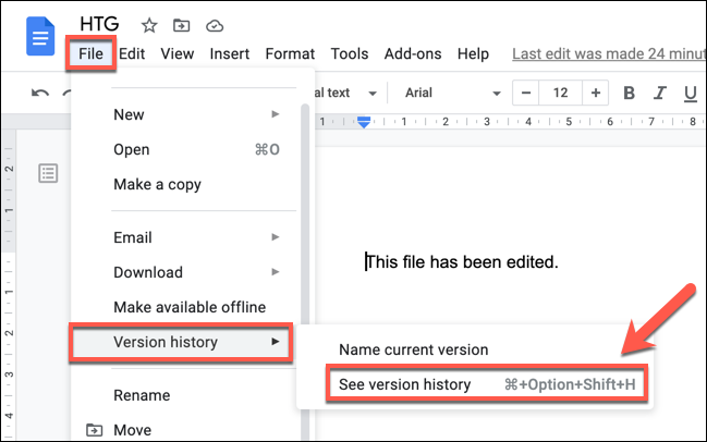 Press File > Version History > See Version History to view the version history of a Google Docs document.