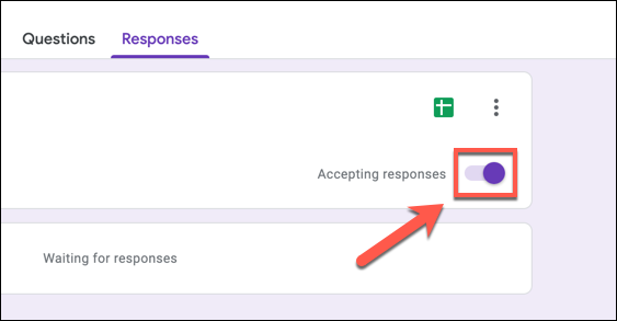To turn off Google Forms responses, press the