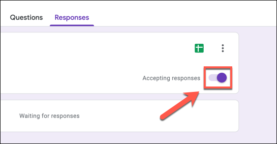 """To disable Google Forms responses, press the """"Accepting Responses"""" slider."""