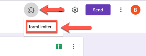 "Pour lancer formLimiter dans votre formulaire Google Forms, appuyez sur Modules complémentaires> formLimiter."" width=""478″ height=""184″ onload=""pagespeed.lazyLoadImages.loadIfVisibleAndMaybeBeacon(this);"" onerror=""this.onerror=null;pagespeed.lazyLoadImages.loadIfVisibleAndMaybeBeacon(this);""/></p> <p>Dans le menu local «formLimiter», sélectionnez l'option «Set Limit».</p> <p><img loading="