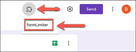 To launch formLimiter in your Google Forms form, press Add-ons > formLimiter.