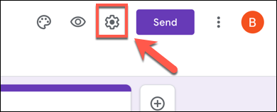 In your Google Forms form, press the settings gear icon in the top right corner.