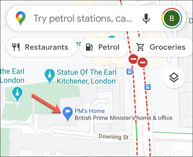 An example of a private label in the Google Maps mobile app.