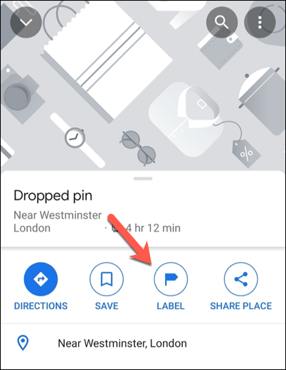 """Tap """"Label"""" in the Google Maps information carousel to add a private label."""