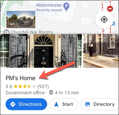 Click the information carousel at the bottom of the Google Maps app after searching for a private label.
