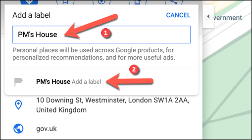 "Type a memorable label for the location in the ""Add A Label"" box, then press the label beneath it to confirm."