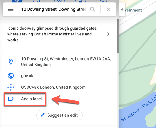"After searching for a location in Google Maps, scroll down the information panel on the left and press the ""Add A Label"" option."