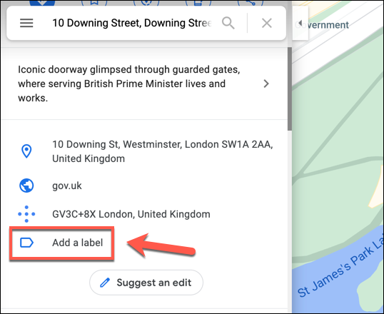 """After searching for a location in Google Maps, scroll down the information panel on the left and press the """"Add A Label"""" option."""