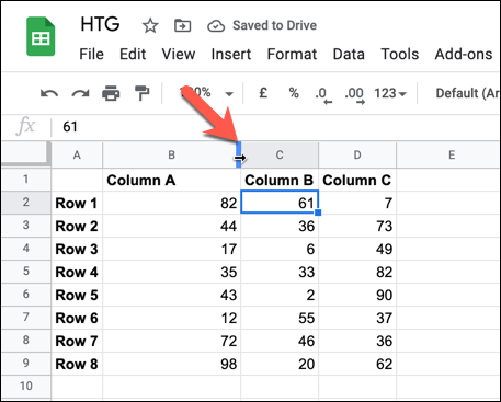 Double-click the header beach to automatically resize a column or row to the data of the largest cell.
