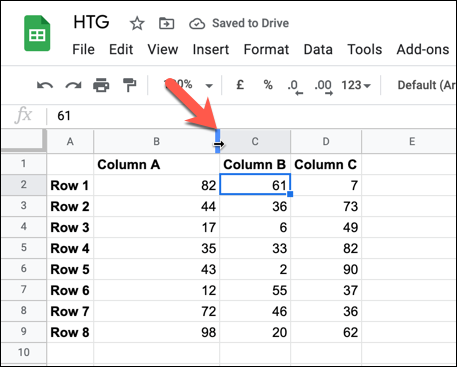 To automatically resize a column or row to fit the largest cell's data, double-click the header border.