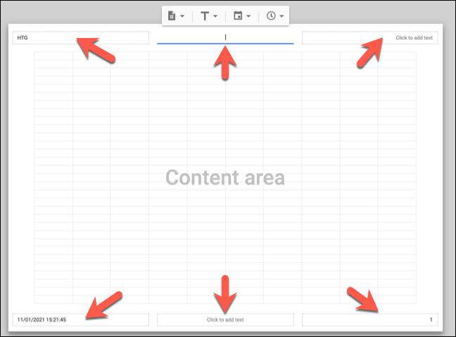 Click on an available text box in the header or footer areas of the visible Google Sheets print view to add, remove, or change the existing header or footer text.
