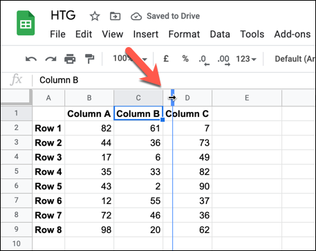 To resize a column, move the mouse pointer over a column border.  Use your mouse to hold down the edge and move it to a new position, then release it once the new edge is in place.