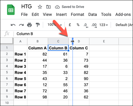 To resize a column, hover over a column border. Using your mouse, hold down and move the border to a new position, letting go once the new border is in place.