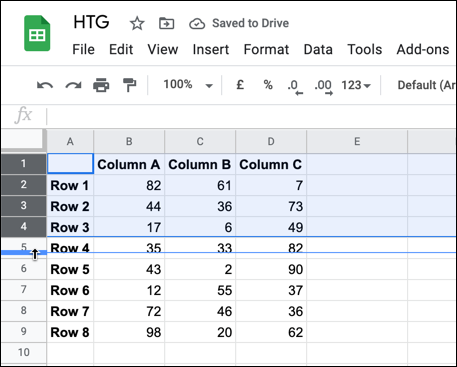 To resize multiple rows and columns, select the rows or columns and move the mouse pointer over one of the selected header borders.  Drag the border with your mouse to a new position and release it once it is in place.