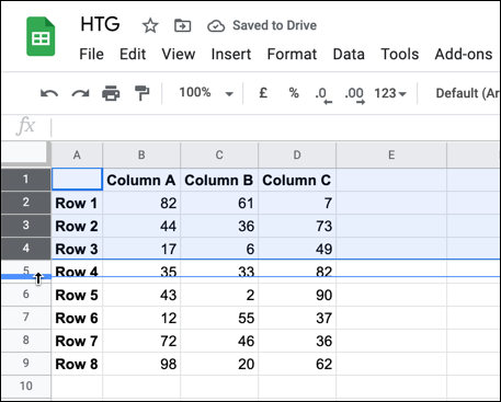 To resize multiple rows and columns, select the rows or columns, then hover over one of the selected header borders. Using your mouse, drag the border into a new position, letting go once in place.