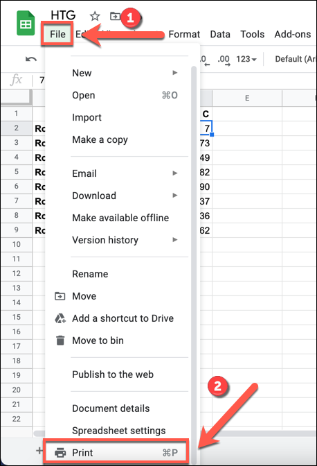 On your Google Sheets spreadsheet, press File > Print to access the printer options for your spreadsheet.