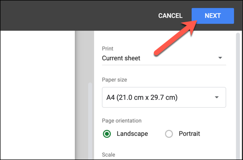 "After customizing your header or footer, press ""Next"" in the top-right corner of the ""Print Settings"" menu to begin printing your edited Google Sheets spreadsheet."