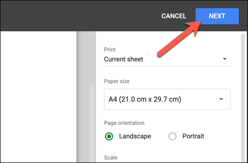 """After customizing your header or footer, press """"Next"""" in the top-right corner of the """"Print Settings"""" menu to begin printing your edited Google Sheets spreadsheet."""