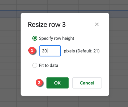 """In the """"Resize"""" box, provide a custom size, or select """"Fit To Data"""" to resize the column or row to fit the largest cell's data. Click """"OK"""" to save the setting."""