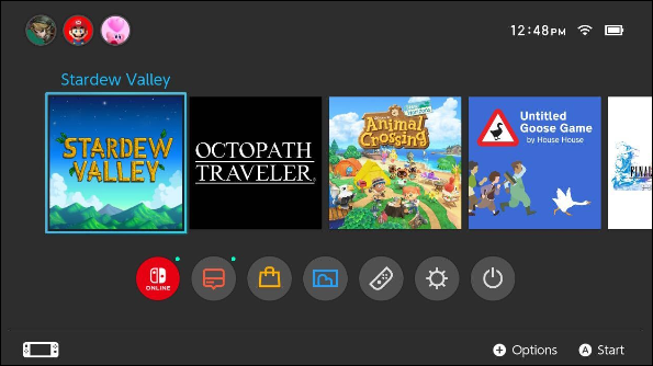 Home screen on Nintendo Switch