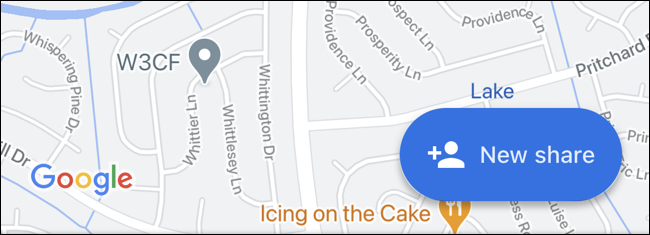 Tap New Share in Google Maps