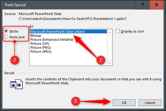 Options to link or embed to PowerPoint slide