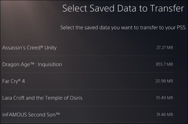 ps4 saves movement to ps5 via data transfer