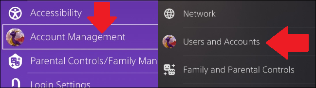 where you can find account information in ps4 and ps5