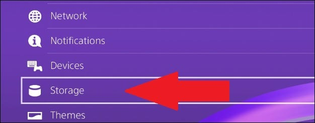 ps4 settings menu with arrow pointing to storage