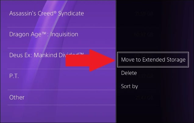 move ps4 games to extended storage