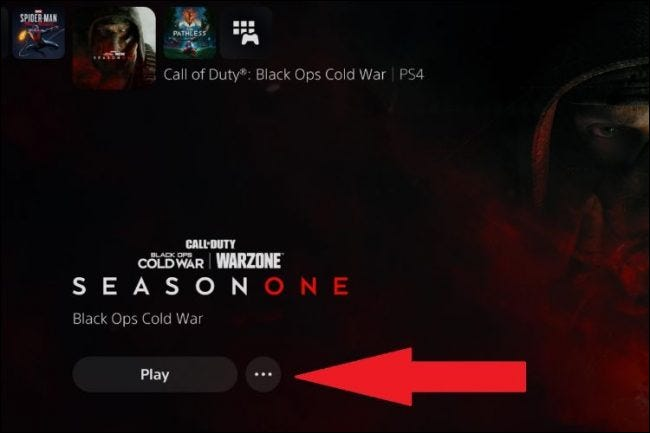 where to find the ps5 game ellipsis menu