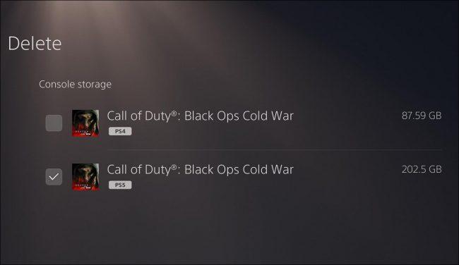 PS5 menü, ahol kiválaszthatja a játék melyik verzióját törölheti