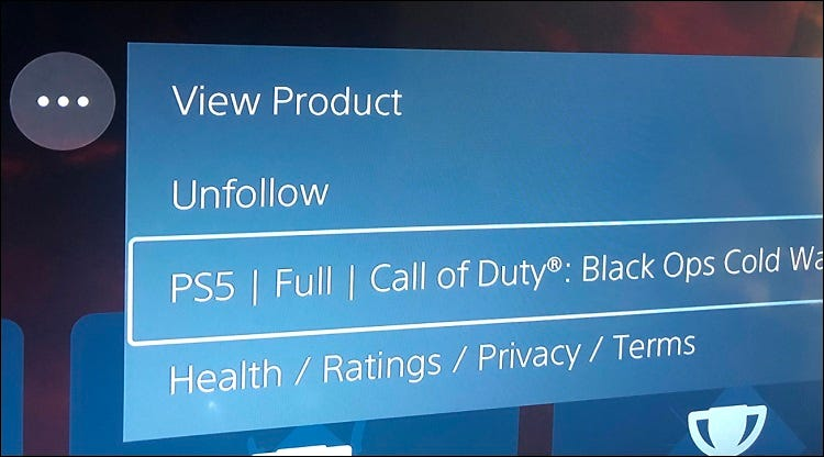ps5 ellipsis menu showing which version of game is not installed