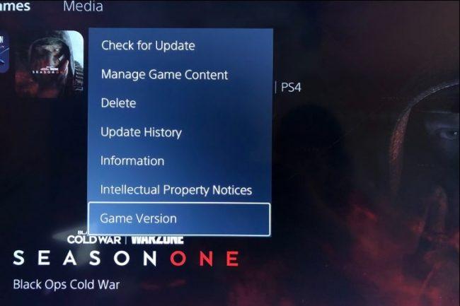 A ps5 menüpont lehetővé teszi a játék verziójának ellenőrzését