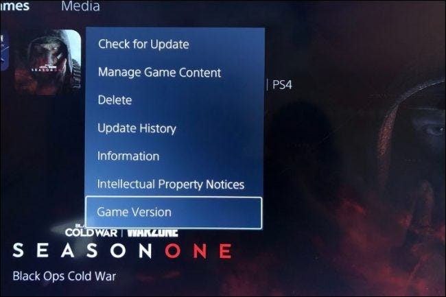 ps5 menu option allows you to check the game version