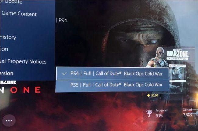 ps5 almenü, amely megmutatja, hogy a játék melyik verziója van jelenleg kiválasztva