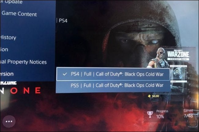 ps5 submenu showing which version of the game is currently selected