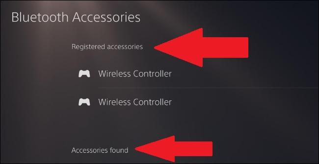 ps5 bluetooth accessories menu
