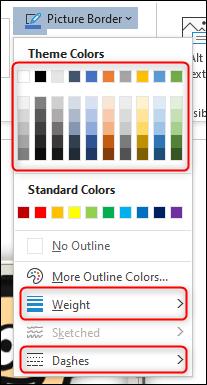 Opzioni del bordo dell'immagine