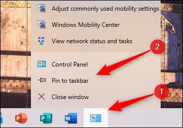 Pin Control Panel to taskbar